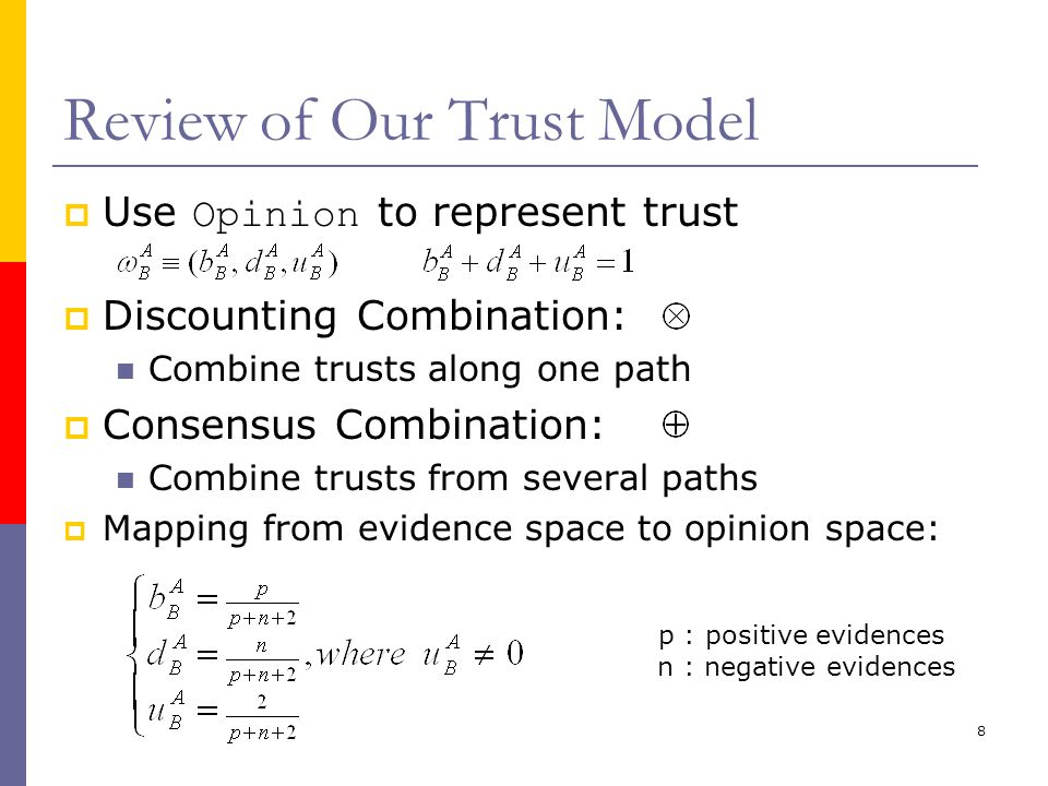8 Review of Our Trust Model  Use Opinion to represent trust  Discounting Combination: Combine trusts along one path  Consensus Combination: Combine trusts from several paths  Mapping from evidence space to opinion space: p : positive evidences n : negative evidences