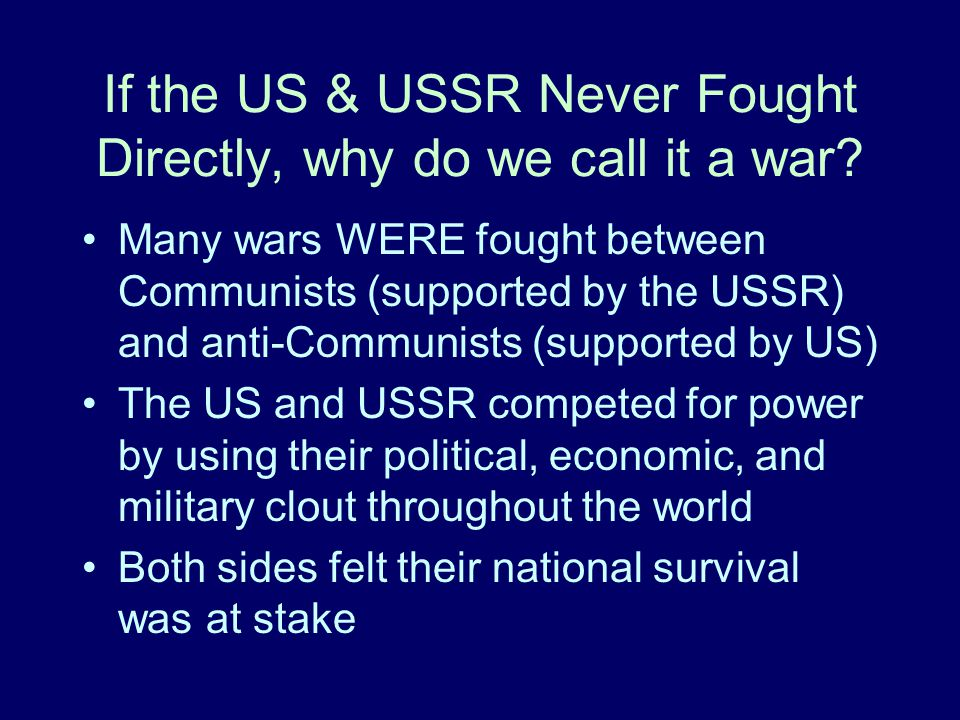 Summary The World War II alliance between the US and the USSR should really be seen as a temporary arrangement to defeat a common enemy.