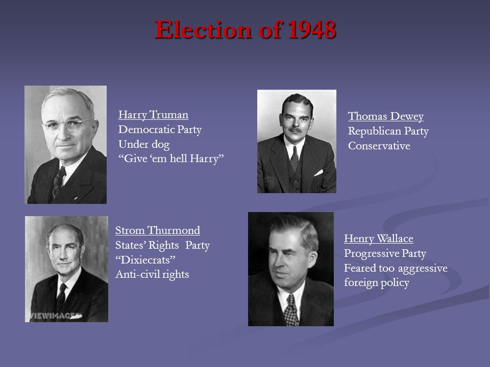 """Election of 1948 Harry Truman Democratic Party Under dog """"Give 'em hell Harry"""" Thomas Dewey Republican Party Conservative Strom Thurmond States' Right"""