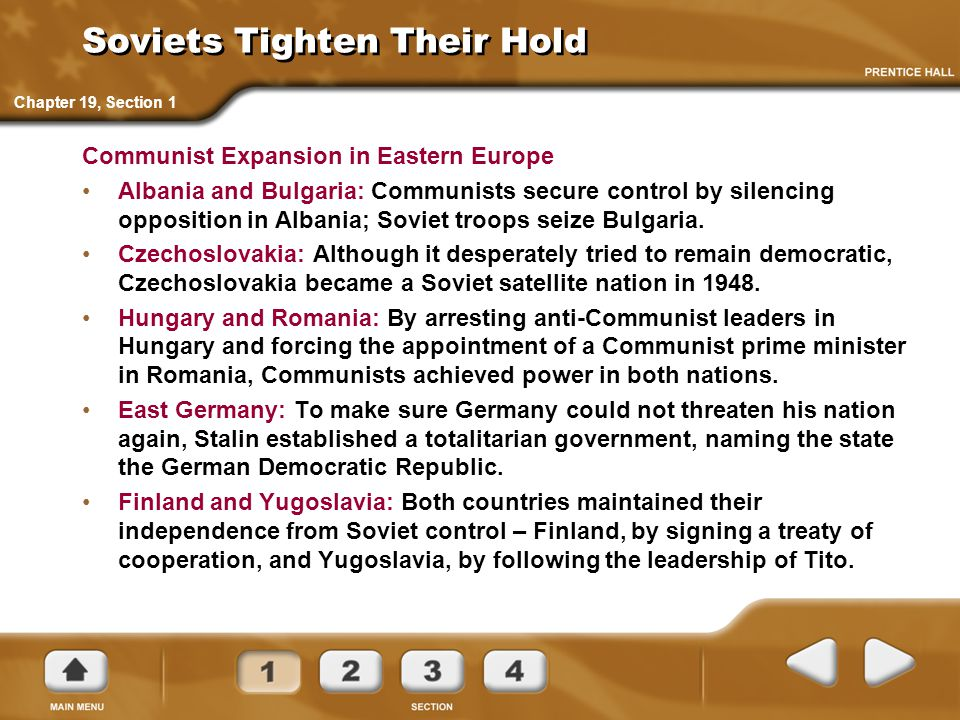 Soviets Tighten Their Hold Communist Expansion in Eastern Europe Albania and Bulgaria: Communists secure control by silencing opposition in Albania; S