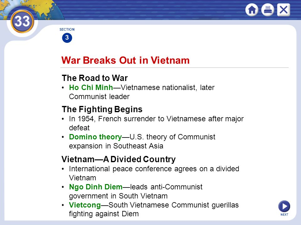 NEXT War Breaks Out in Vietnam The Road to War Ho Chi Minh—Vietnamese nationalist, later Communist leader SECTION 3 The Fighting Begins In 1954, Frenc