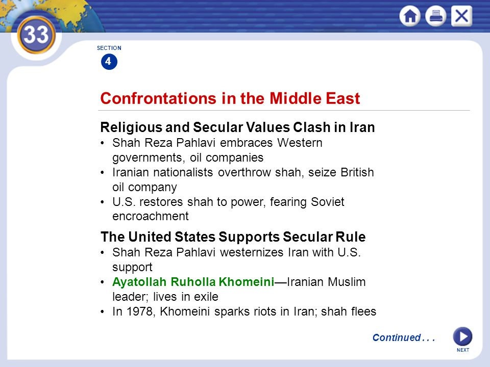 NEXT Confrontations in the Middle East Religious and Secular Values Clash in Iran Shah Reza Pahlavi embraces Western governments, oil companies Irania
