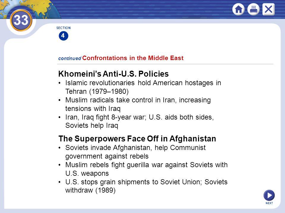 NEXT Khomeini's Anti-U.S. Policies Islamic revolutionaries hold American hostages in Tehran (1979–1980) Muslim radicals take control in Iran, increasi