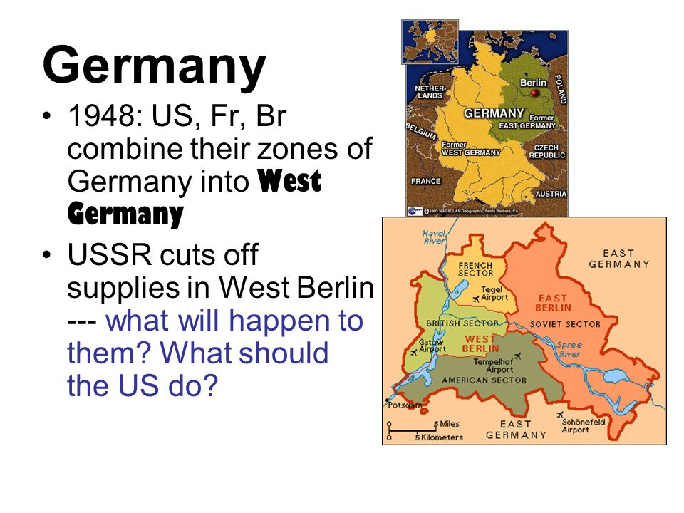 Germany 1948: US, Fr, Br combine their zones of Germany into West Germany USSR cuts off supplies in West Berlin --- what will happen to them? What sho
