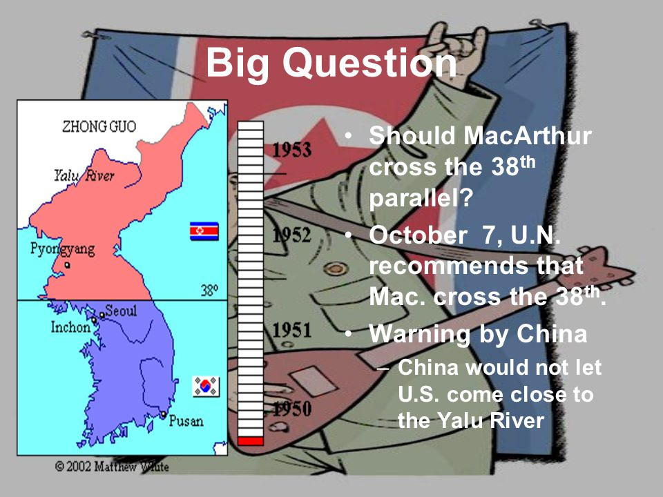 Big Question Should MacArthur cross the 38 th parallel.