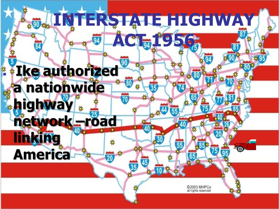 INTERSTATE HIGHWAY ACT 1956 Ike authorized a nationwide highway network –road linking America