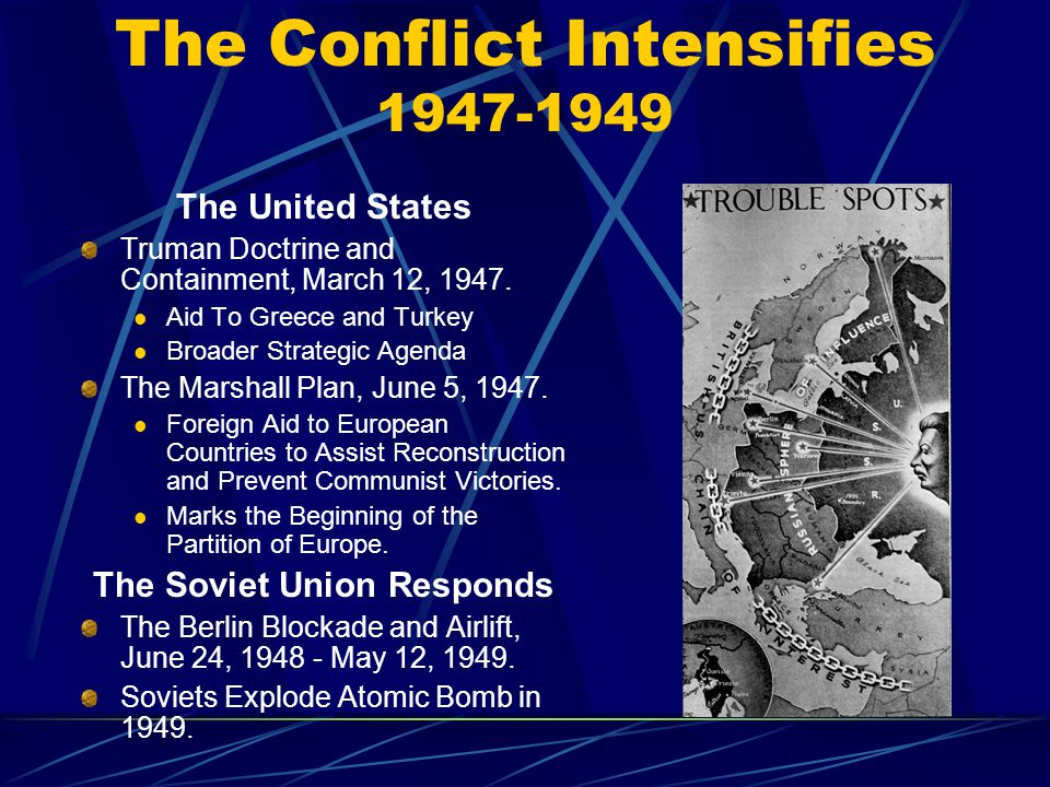 The Conflict Intensifies 1947-1949 The United States Truman Doctrine and Containment, March 12, 1947.