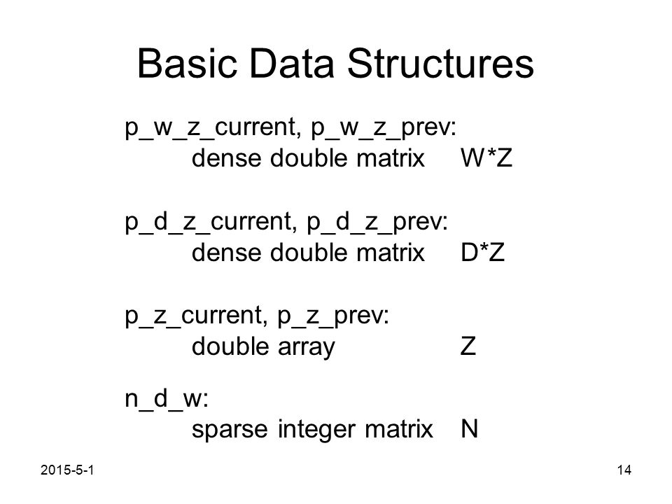 2015-5-114 Basic Data Structures p_w_z_current, p_w_z_prev: dense double matrix W*Z p_d_z_current, p_d_z_prev: dense double matrix D*Z p_z_current, p_z_prev: double arrayZ n_d_w: sparse integer matrixN