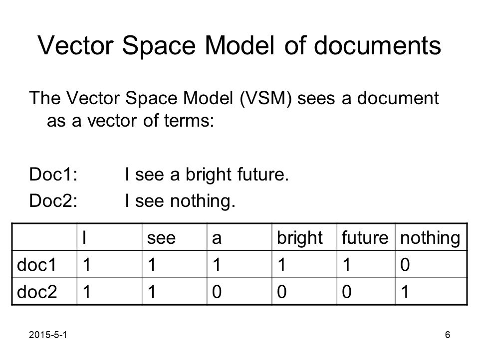 2015-5-16 Vector Space Model of documents The Vector Space Model (VSM) sees a document as a vector of terms: Doc1: I see a bright future.
