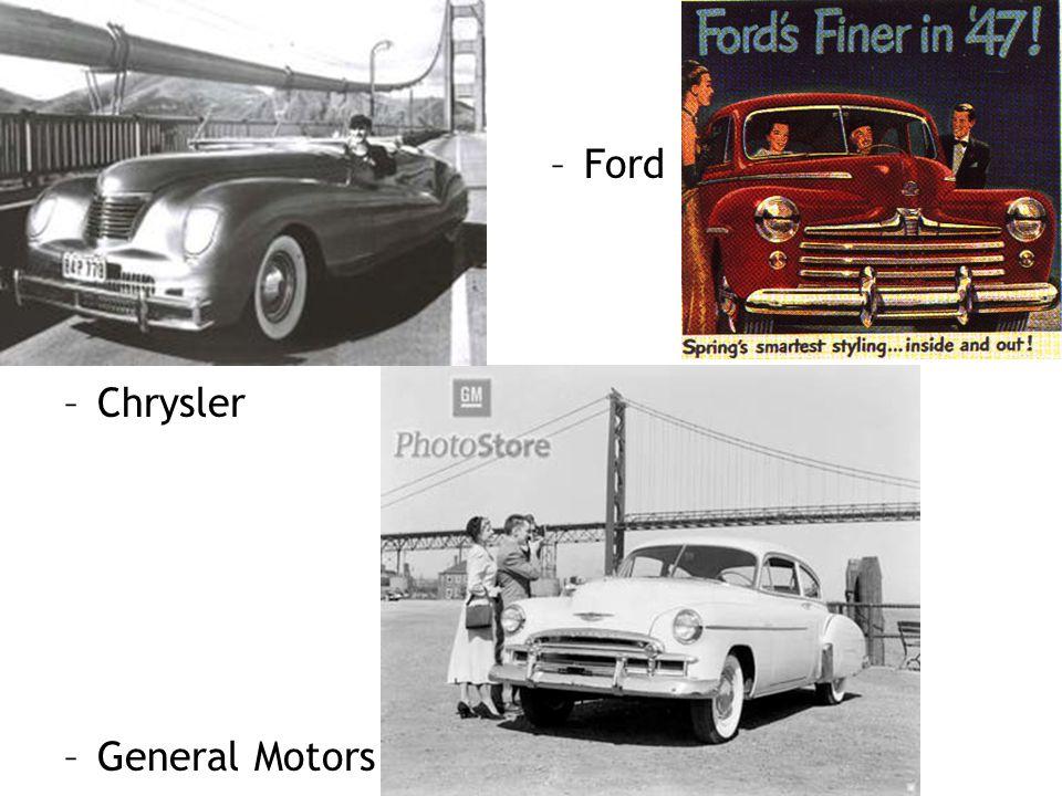 –General Motors –Chrysler –Ford