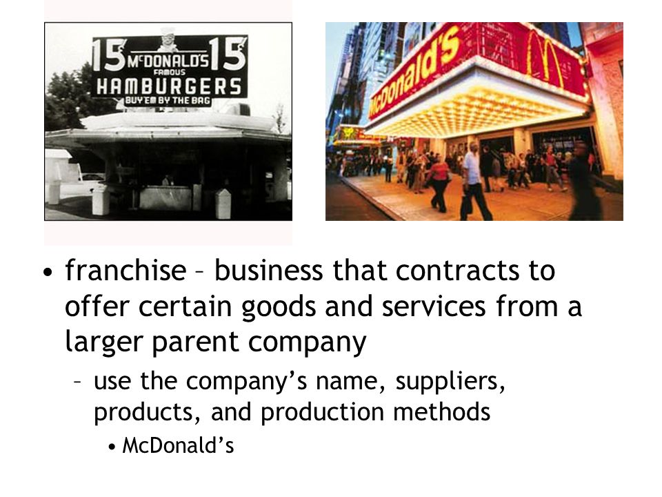 franchise – business that contracts to offer certain goods and services from a larger parent company –use the company's name, suppliers, products, and