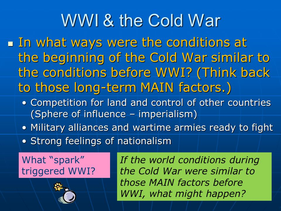 NATO v. Warsaw Pact How could there be a Cold War with military alliances.