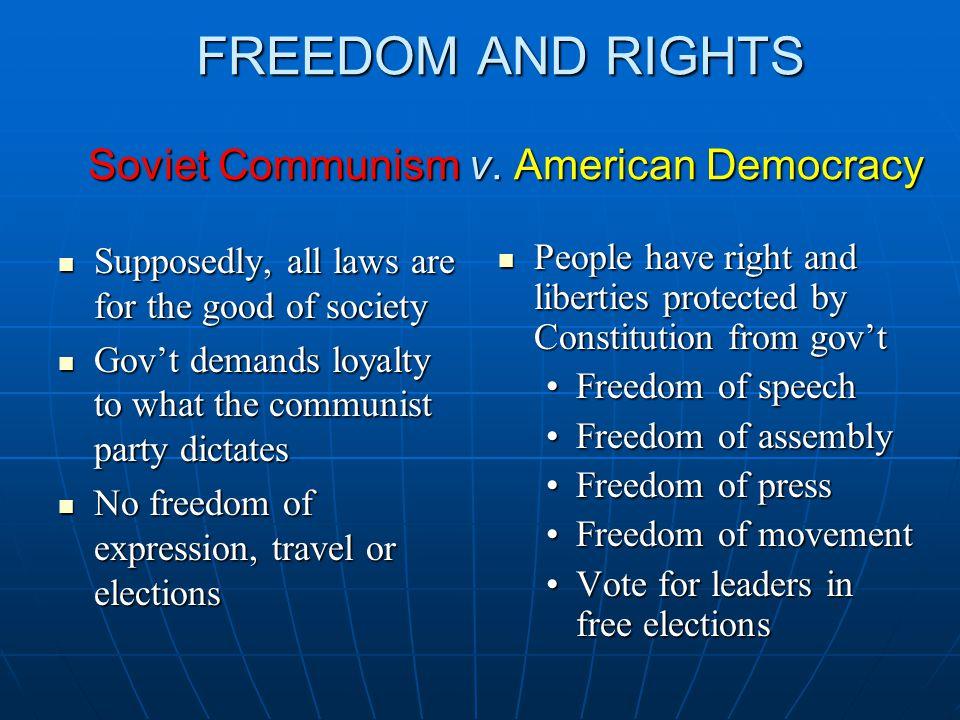 FREEDOM AND RIGHTS Soviet Communism v.