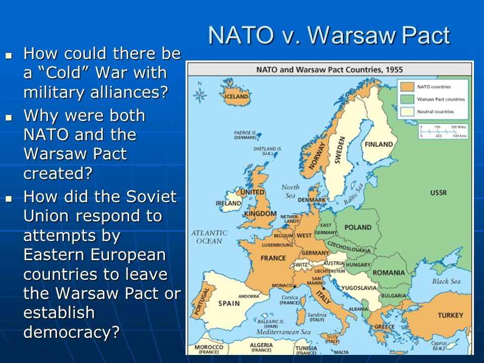 NATO v.Warsaw Pact How could there be a Cold War with military alliances.