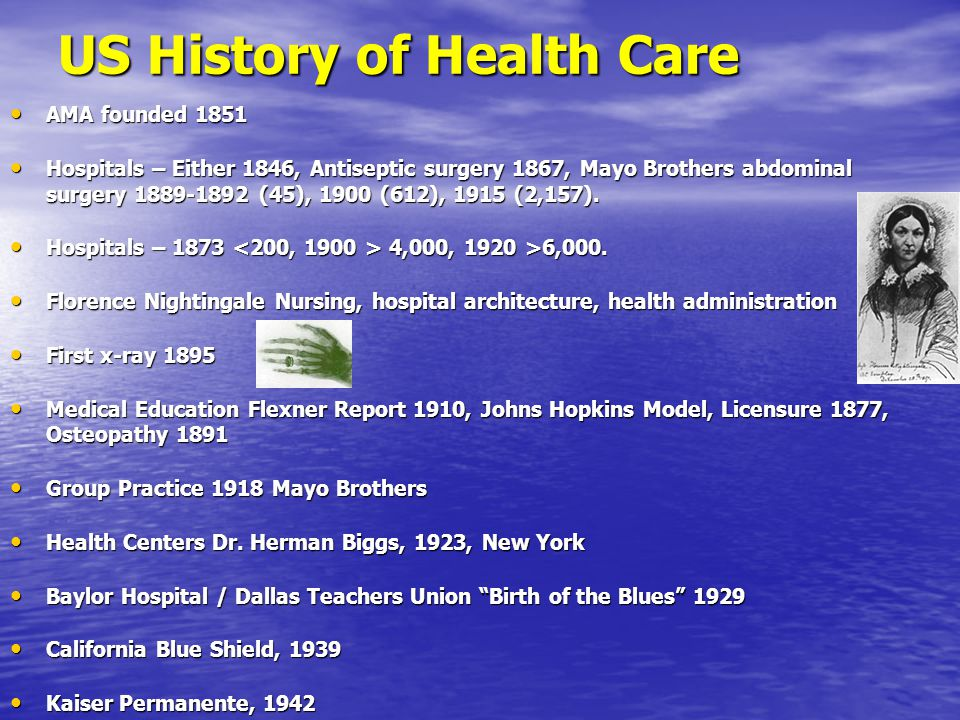 US History of Health Care AMA founded 1851 AMA founded 1851 Hospitals – Either 1846, Antiseptic surgery 1867, Mayo Brothers abdominal surgery 1889-1892 (45), 1900 (612), 1915 (2,157).