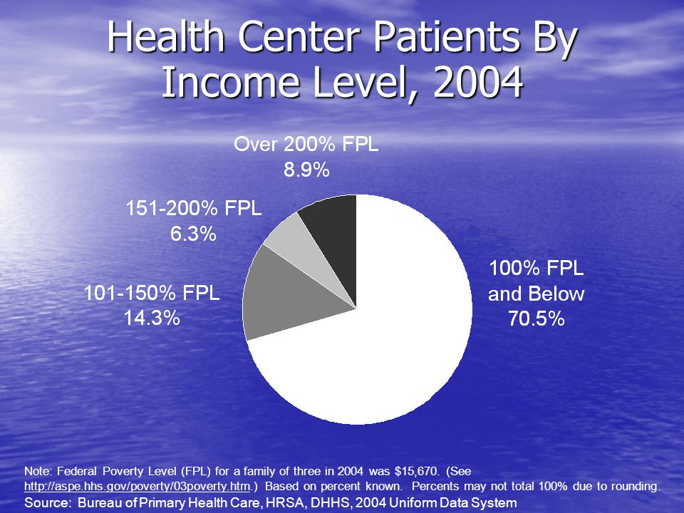 Health Center Patients By Income Level, 2004 Note: Federal Poverty Level (FPL) for a family of three in 2004 was $15,670.