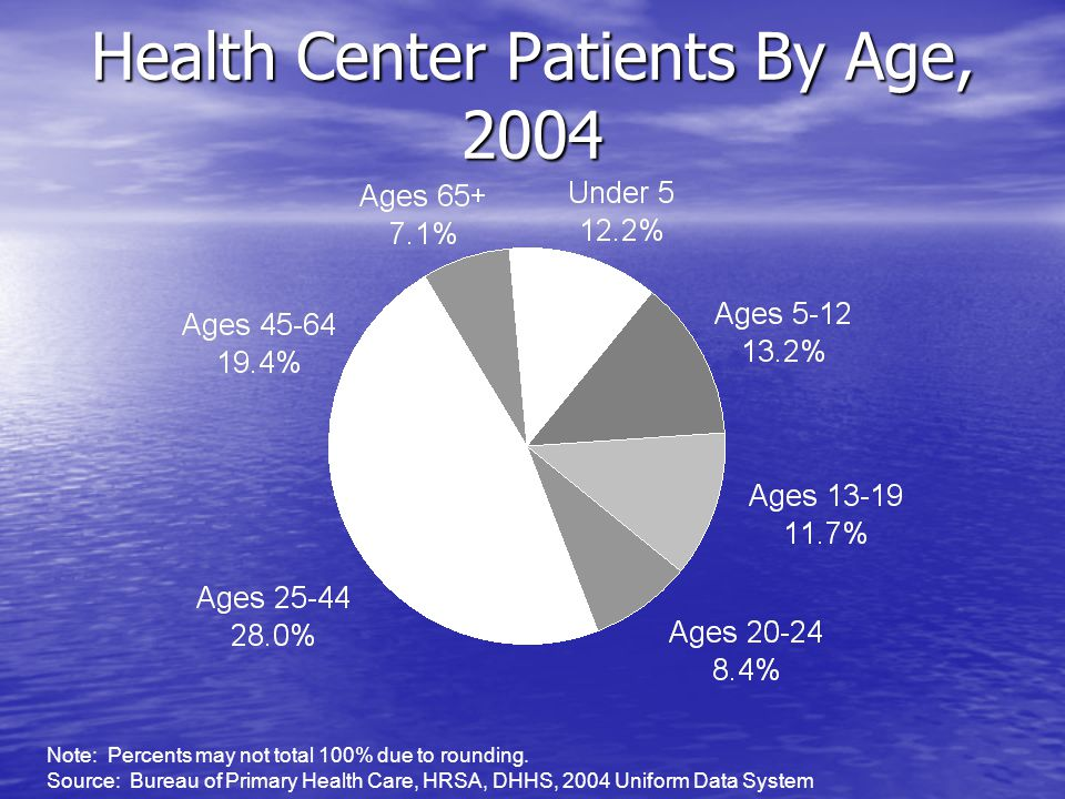 Health Center Patients By Age, 2004 Note: Percents may not total 100% due to rounding.