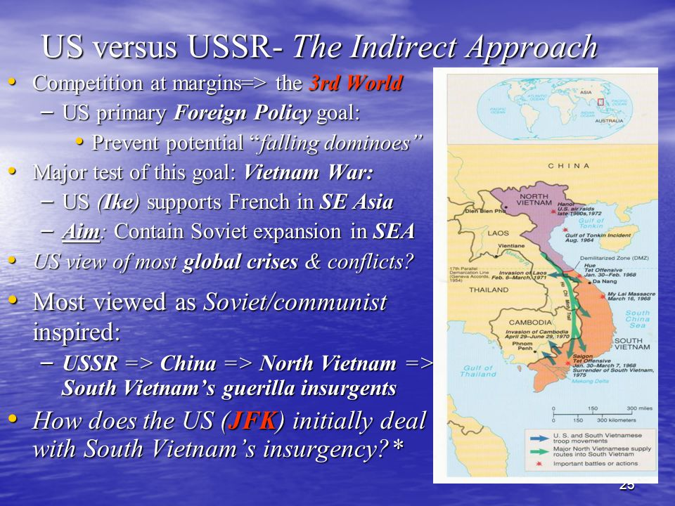 25 US versus USSR- The Indirect Approach Competition at margins=> the 3rd World Competition at margins=> the 3rd World – US primary Foreign Policy goal: Prevent potential falling dominoes Prevent potential falling dominoes Major test of this goal: Vietnam War: Major test of this goal: Vietnam War: – US (Ike) supports French in SE Asia – Aim: Contain Soviet expansion in SEA US view of most global crises & conflicts.