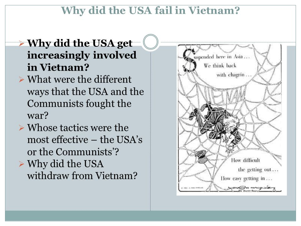 Why did the USA fail in Vietnam?  Why did the USA get increasingly involved in Vietnam?  What were the different ways that the USA and the Communist