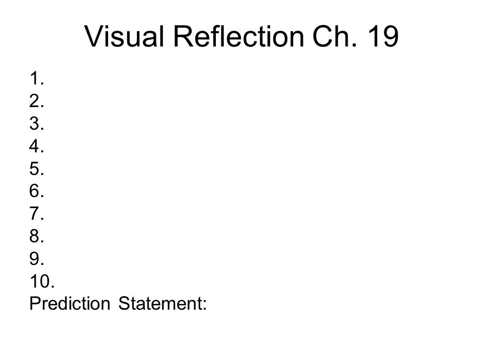 Visual Reflection Directions: On your sheet, write down your immediate thoughts on each image that you see on the screen.
