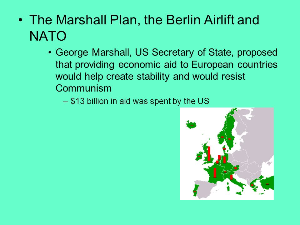 The Marshall Plan, the Berlin Airlift and NATO George Marshall, US Secretary of State, proposed that providing economic aid to European countries would help create stability and would resist Communism –$13 billion in aid was spent by the US