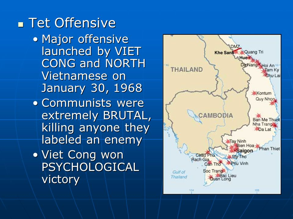 Tet Offensive Tet Offensive Major offensive launched by VIET CONG and NORTH Vietnamese on January 30, 1968Major offensive launched by VIET CONG and NO