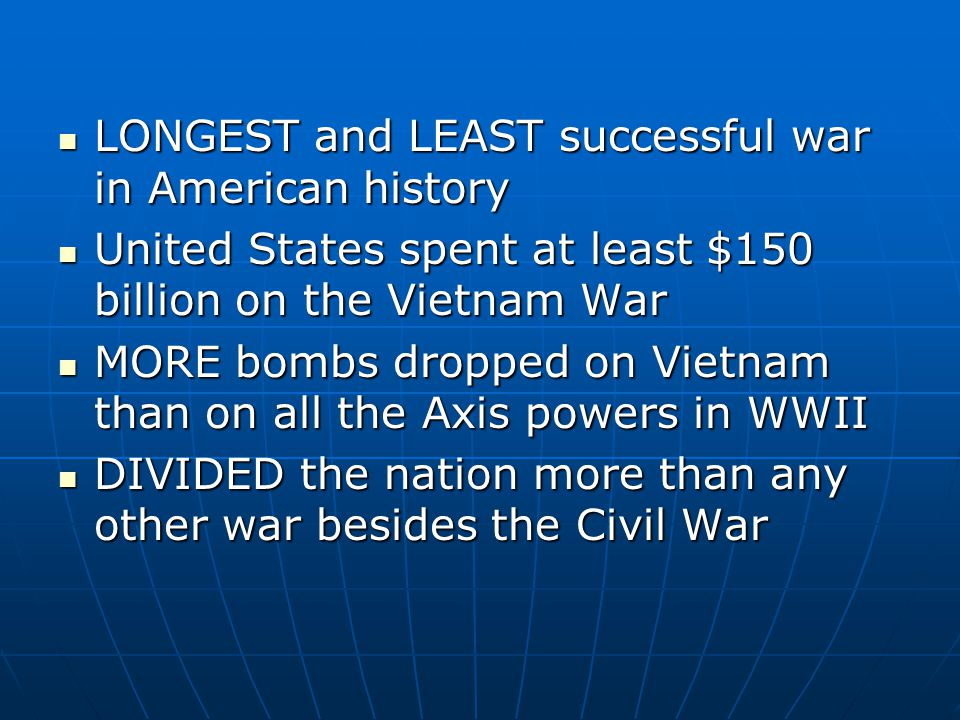LONGEST and LEAST successful war in American history LONGEST and LEAST successful war in American history United States spent at least $150 billion on