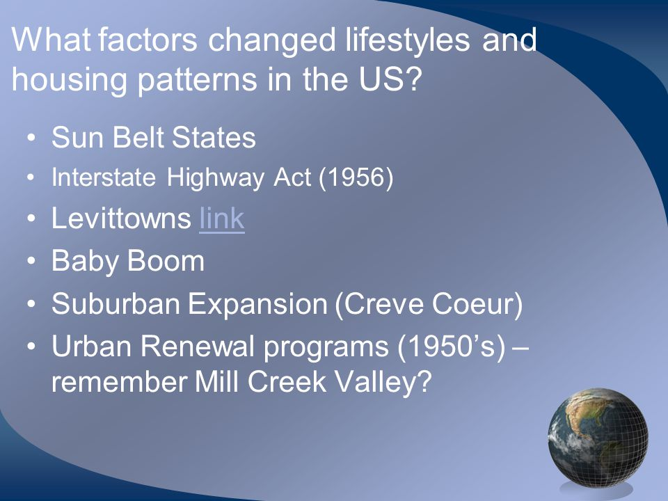 What factors changed lifestyles and housing patterns in the US.