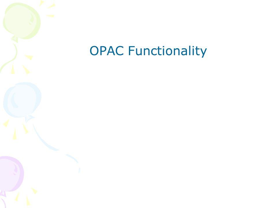 OPAC Functionality