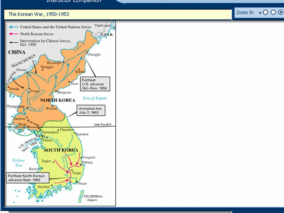 Map: The Korean War, 1950-1953 The Korean War, 1950-1953 Beginning as a civil war between North and South Korea, this war became international when the United States, under the auspices of the United Nations, and the People s Republic of China intervened with their military forces.