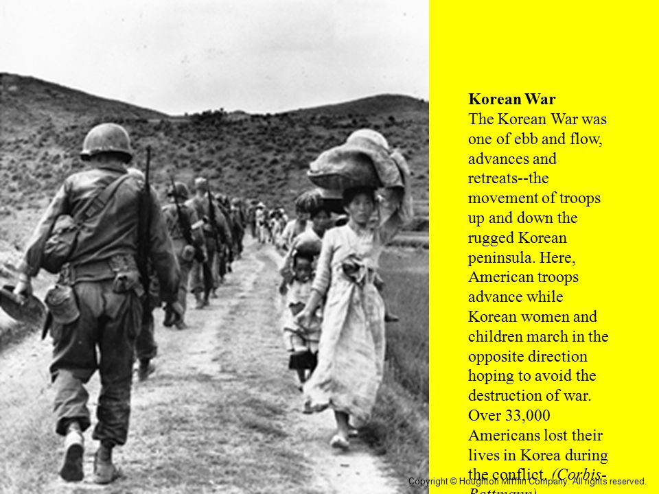 Korean War The Korean War was one of ebb and flow, advances and retreats--the movement of troops up and down the rugged Korean peninsula. Here, Americ