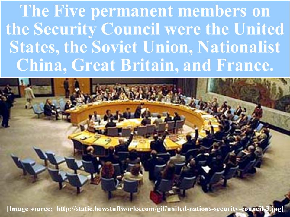 The Five permanent members on the Security Council were the United States, the Soviet Union, Nationalist China, Great Britain, and France.