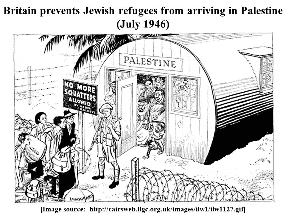 Britain prevents Jewish refugees from arriving in Palestine (July 1946) [Image source: http://cairsweb.llgc.org.uk/images/ilw1/ilw1127.gif]