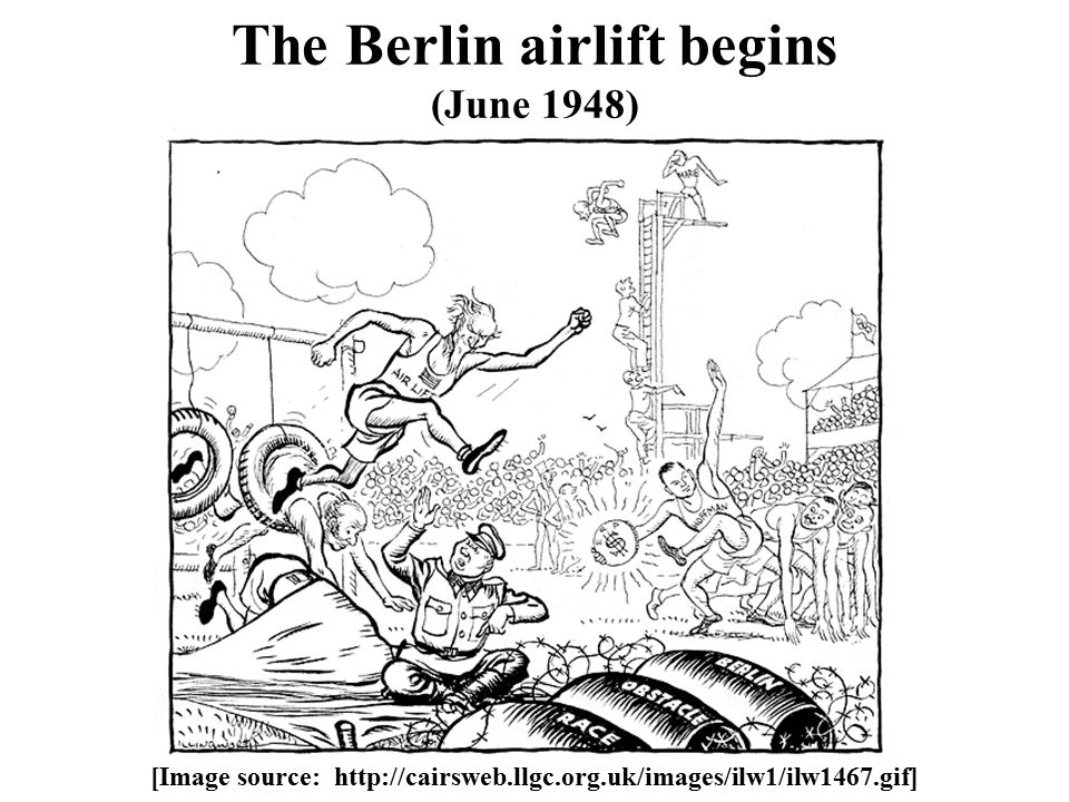 The Berlin airlift begins (June 1948) [Image source: http://cairsweb.llgc.org.uk/images/ilw1/ilw1467.gif]