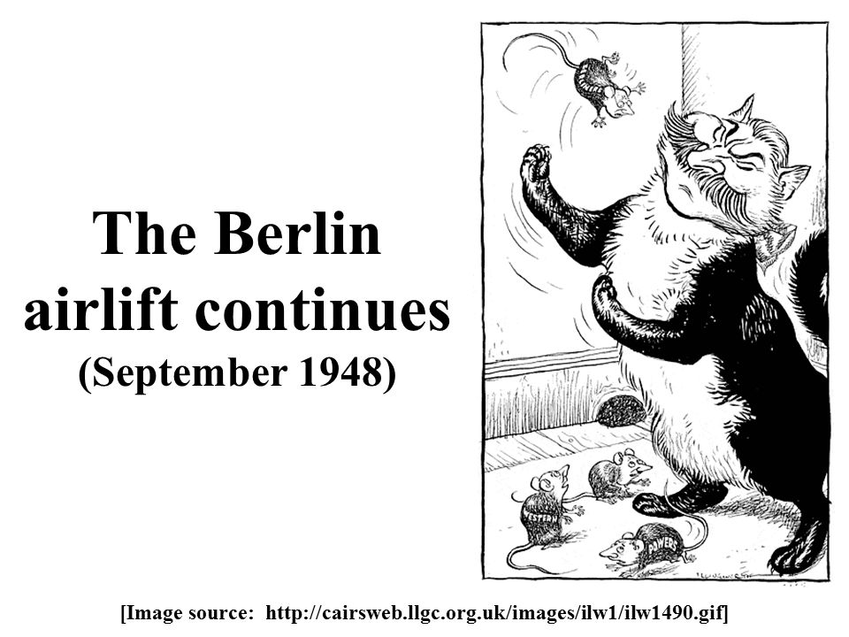 The Berlin airlift continues (September 1948) [Image source: http://cairsweb.llgc.org.uk/images/ilw1/ilw1490.gif]