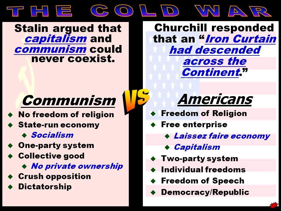 coldwar Stalin argued that capitalism and communism could never coexist.Communism  No freedom of religion  State-run economy  Socialism  One-party