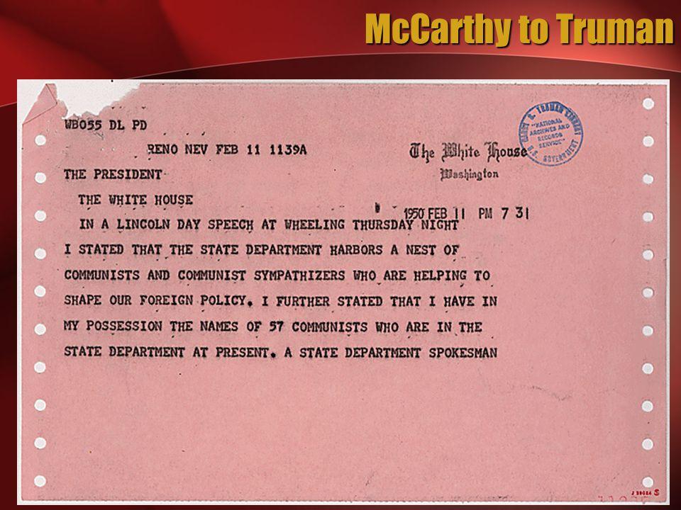 McCarthy to Truman
