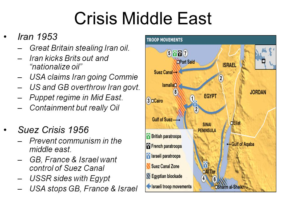 Crisis Middle East Iran 1953 –Great Britain stealing Iran oil.