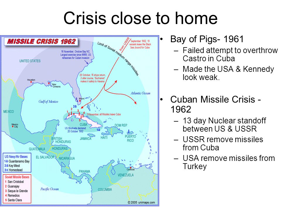 Crisis close to home Bay of Pigs- 1961 –Failed attempt to overthrow Castro in Cuba –Made the USA & Kennedy look weak.