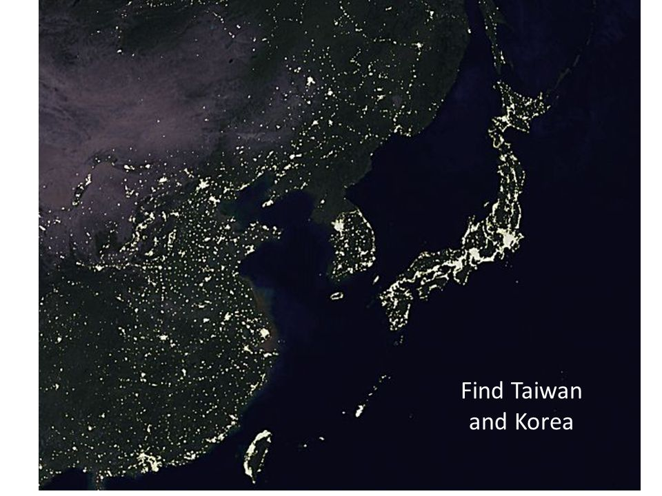 Find Taiwan and Korea