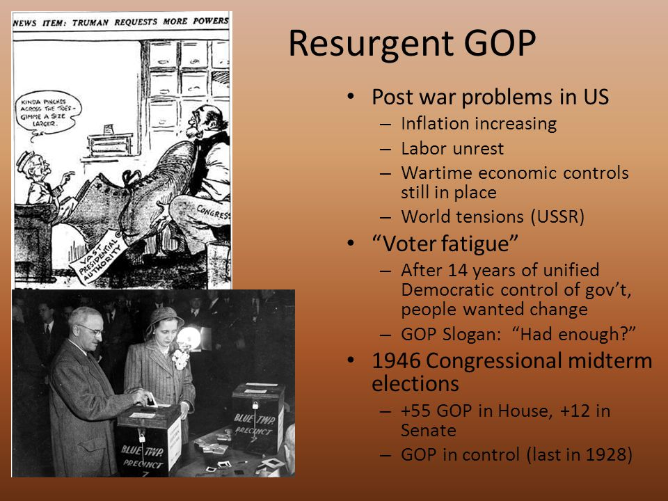 Resurgent GOP Post war problems in US – Inflation increasing – Labor unrest – Wartime economic controls still in place – World tensions (USSR) Voter fatigue – After 14 years of unified Democratic control of gov't, people wanted change – GOP Slogan: Had enough 1946 Congressional midterm elections – +55 GOP in House, +12 in Senate – GOP in control (last in 1928)