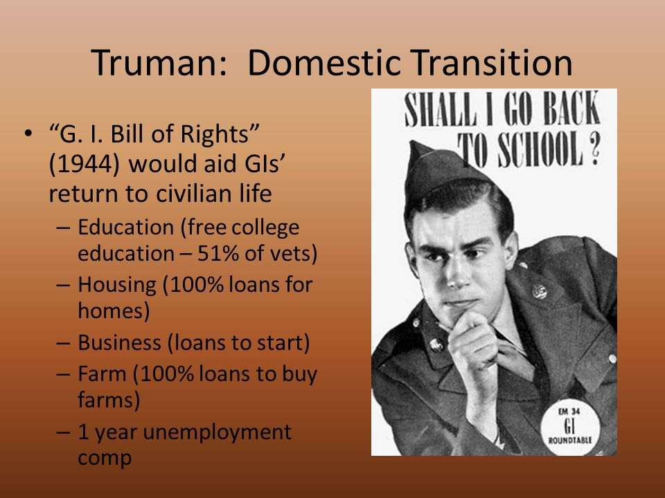 Truman: Domestic Transition Employment Act of 1946 – Gov't effort to control economy of US – Goals Promote maximum employment Promote maximum production Promote maximum purchasing power – Created Council of Economic Advisors Advise, assist President in forming economic policy – Created Joint Economic Committee: joint congressional committee to study, plan policies