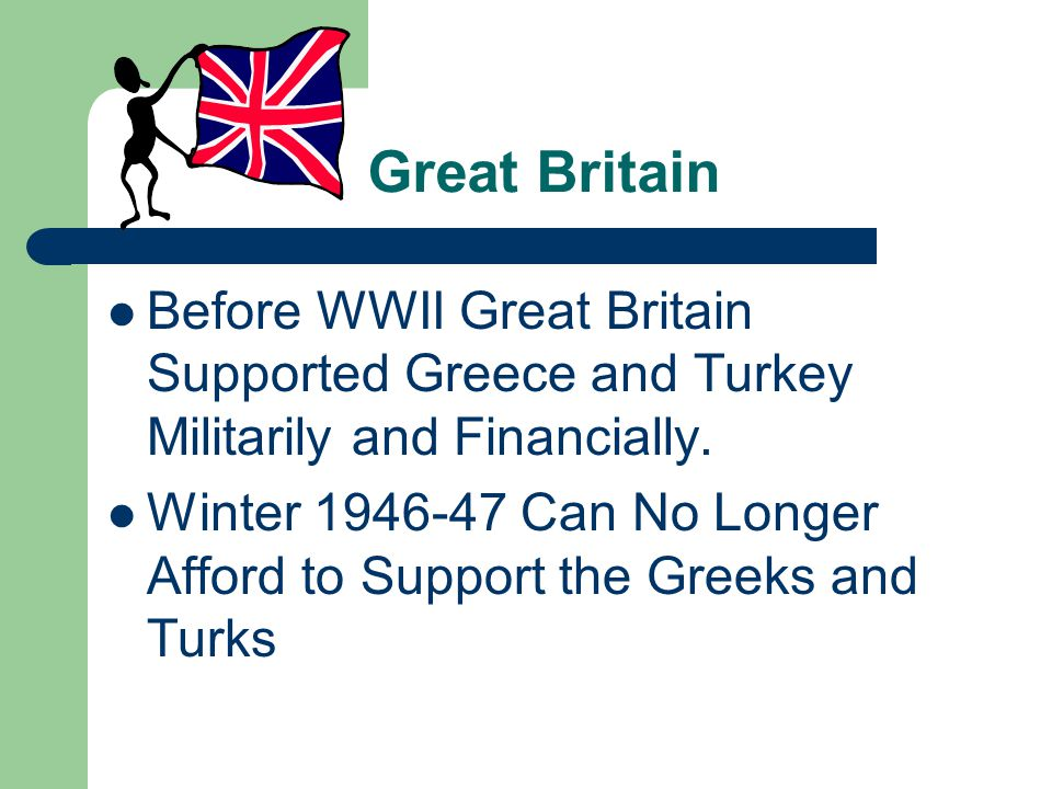 Great Britain Before WWII Great Britain Supported Greece and Turkey Militarily and Financially.
