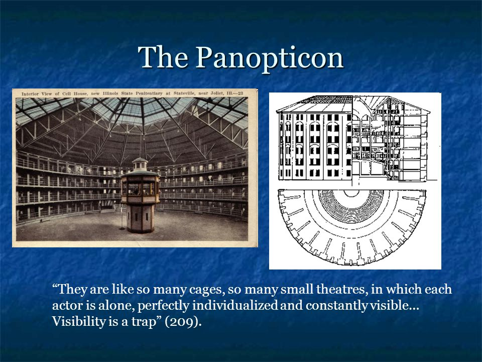 The Panopticon They are like so many cages, so many small theatres, in which each actor is alone, perfectly individualized and constantly visible… Visibility is a trap (209).
