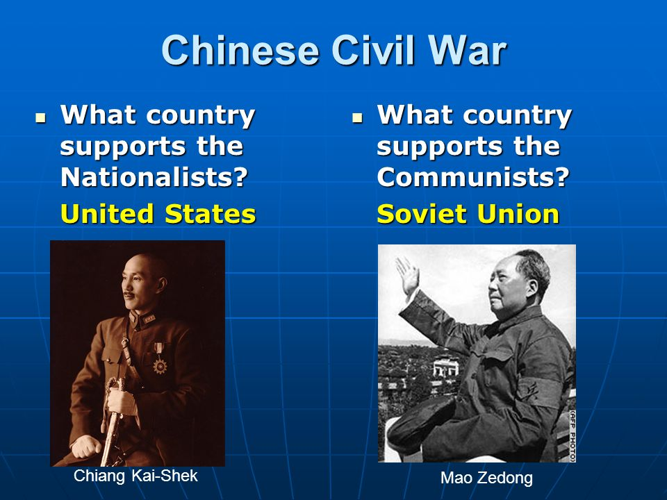 Chinese Civil War What country supports the Nationalists.