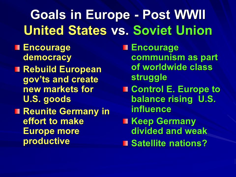 Goals in Europe - Post WWII United States vs.