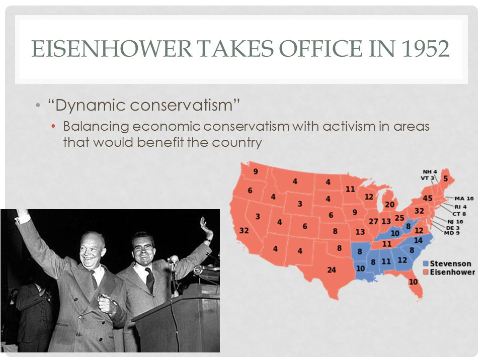 EISENHOWER TAKES OFFICE IN 1952 Dynamic conservatism Balancing economic conservatism with activism in areas that would benefit the country