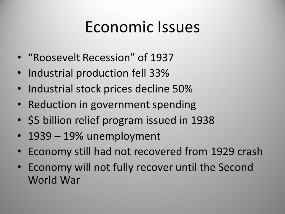 "Economic Issues ""Roosevelt Recession"" of 1937 Industrial production fell 33% Industrial stock prices decline 50% Reduction in government spending $5 b"