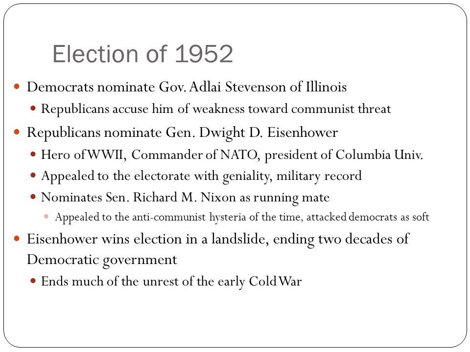Election of 1952 Democrats nominate Gov.