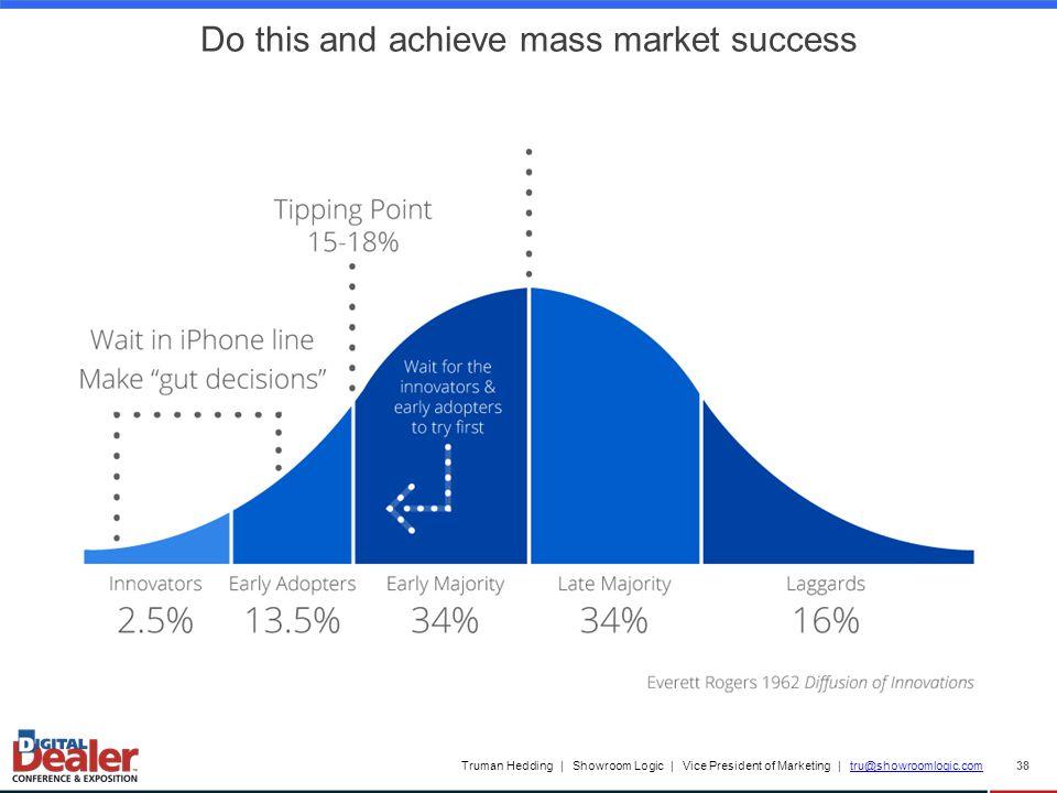 Truman Hedding | Showroom Logic | Vice President of Marketing | tru@showroomlogic.comtru@showroomlogic.com 38 Mass Market Penetration Do this and achieve mass market success